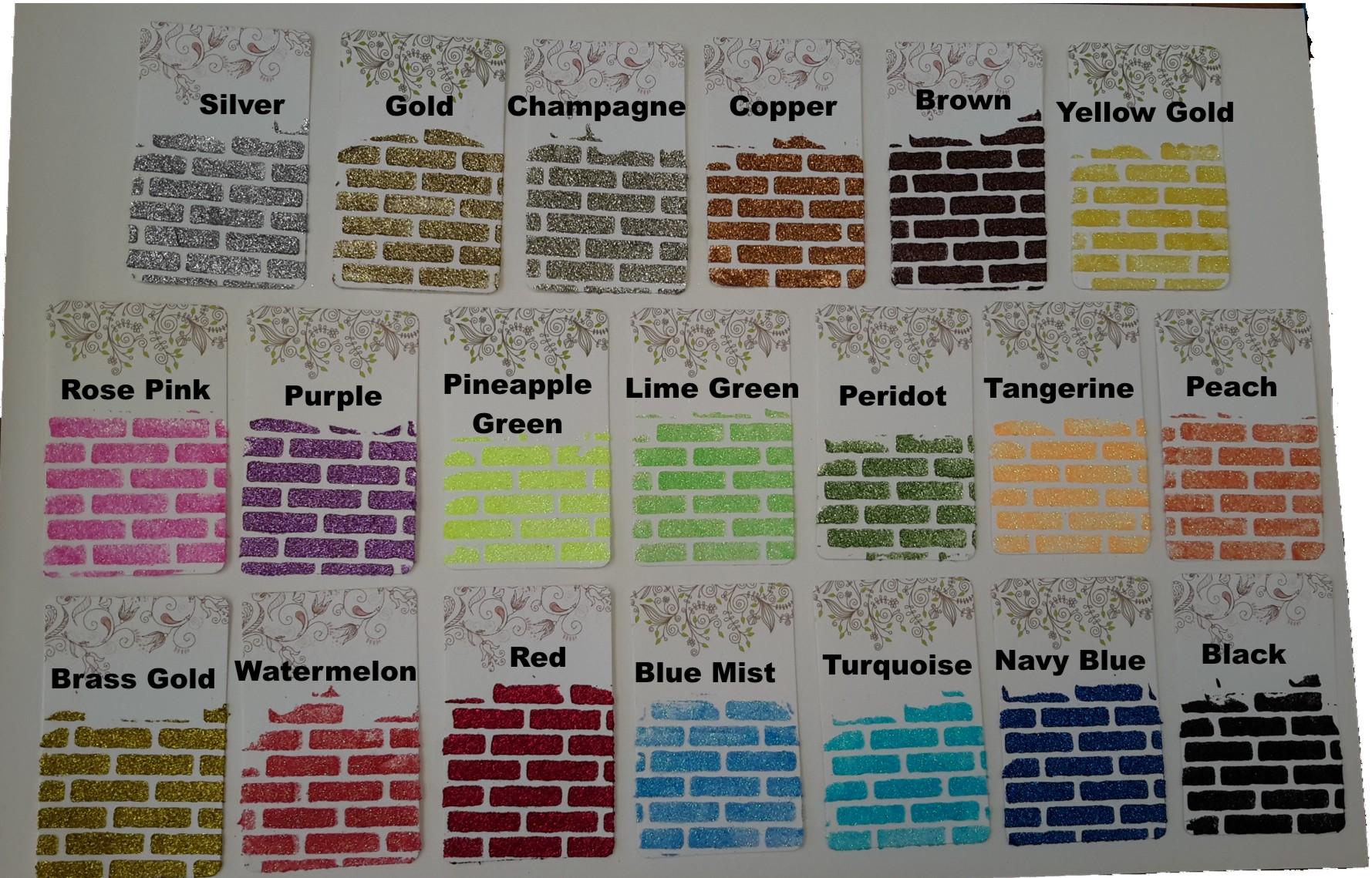 Glitter colourchart